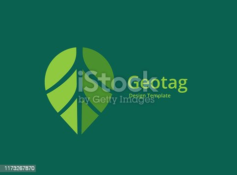 Geotag with eco leaves or location pin logo icon design