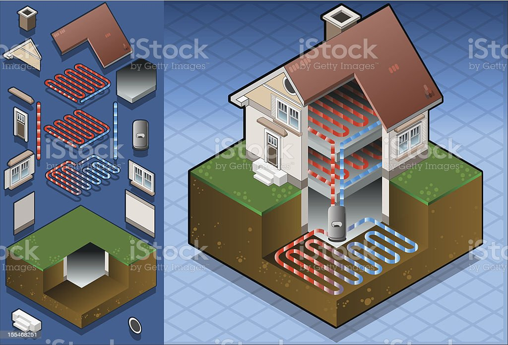 geothermal heat pump underfloorheating diagram This image is also available animated: Architectural Model stock vector