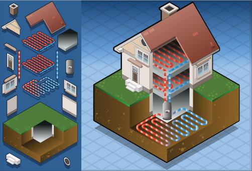 Geothermal Heat Pump Underfloorheating Diagram Stock Illustration - Download Image Now