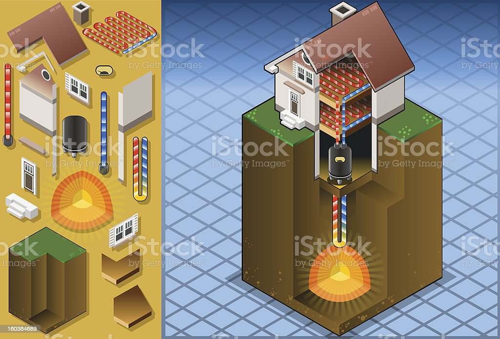 geothermal heat pump/underfloorheating diagram This image is also available animated: Architectural Model stock vector