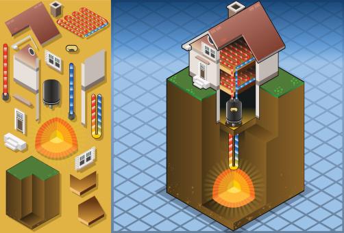 Geothermal Heat Pumpunderfloorheating Diagram Stock Illustration - Download Image Now