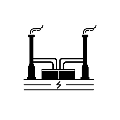 Geothermal Power Plant Silhouette Icon In Flat Style Stock