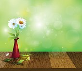 Gerbera- Daisy flowers in red vase on Wood table top