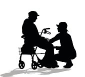 A vector silhouette illustration of an elderly woman sitting on her walker with a young woman crouched beside her.
