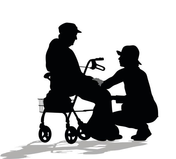 ilustraciones, imágenes clip art, dibujos animados e iconos de stock de trabajadores geriátricos - nieta