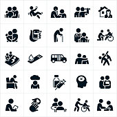 A set of geriatrics icons. The icons include elderly people, elderly patients, physicians, doctors, medication, elderly person with cane, person falling, rehabilitation services, home health services, person in a wheelchair, elderly patient in a hospital bed, diabetes, elderly fitness, depression, mental illness, dementia, blood pressure check, medical check-up, love, care and other related concepts.