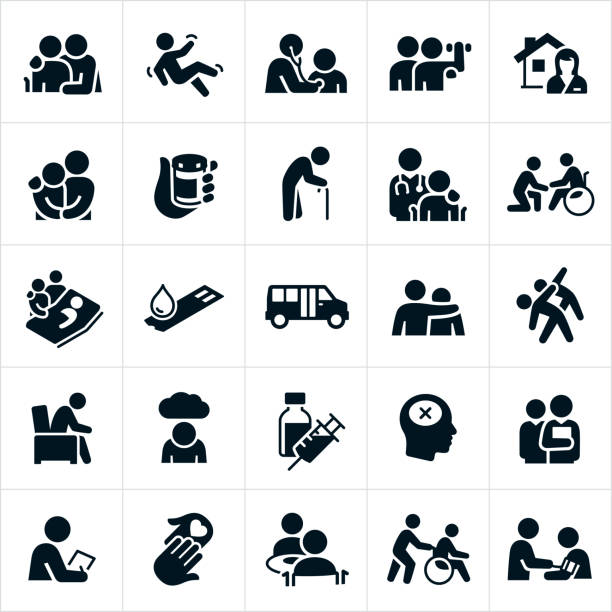 Geriatrics Icons A set of geriatrics icons. The icons include elderly people, elderly patients, physicians, doctors, medication, elderly person with cane, person falling, rehabilitation services, home health services, person in a wheelchair, elderly patient in a hospital bed, diabetes, elderly fitness, depression, mental illness, dementia, blood pressure check, medical check-up, love, care and other related concepts. doctor and patient stock illustrations