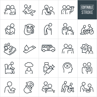 Geriatrics Thin Line Icons - Editable Stroke