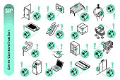The mono colour outline icon illustration set of germ contamination on various kind of things such as on telephone, door handle, computer keyboard, public transportation and so on.