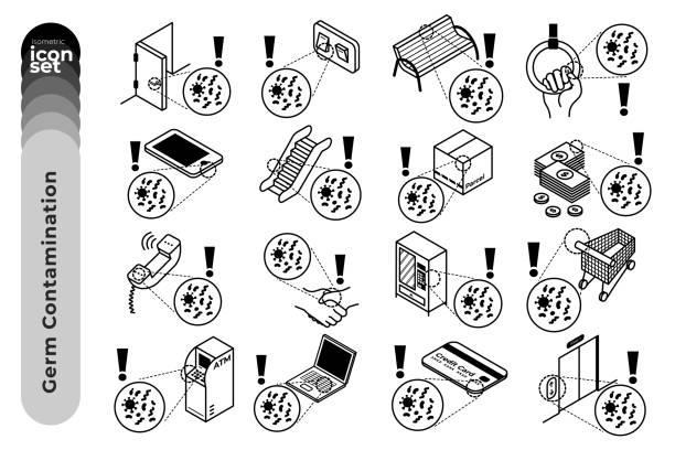 germ contamination outline icon set on white background. vector stock illustration. stock illustration - empty vending machine stock illustrations