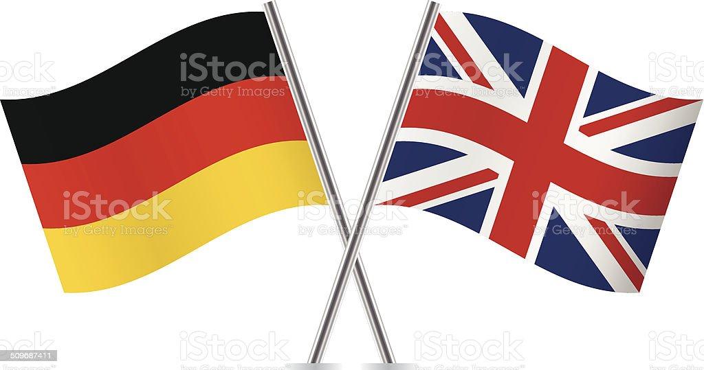 Bandera alemana y británica.  Vector. - ilustración de arte vectorial