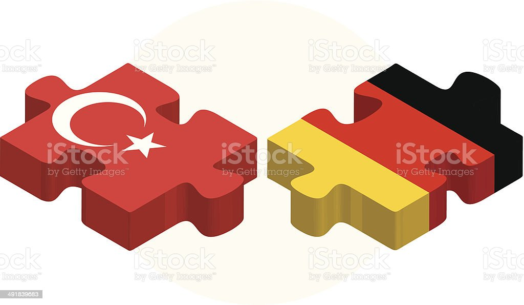 German and Turkish Flags in puzzle vector art illustration