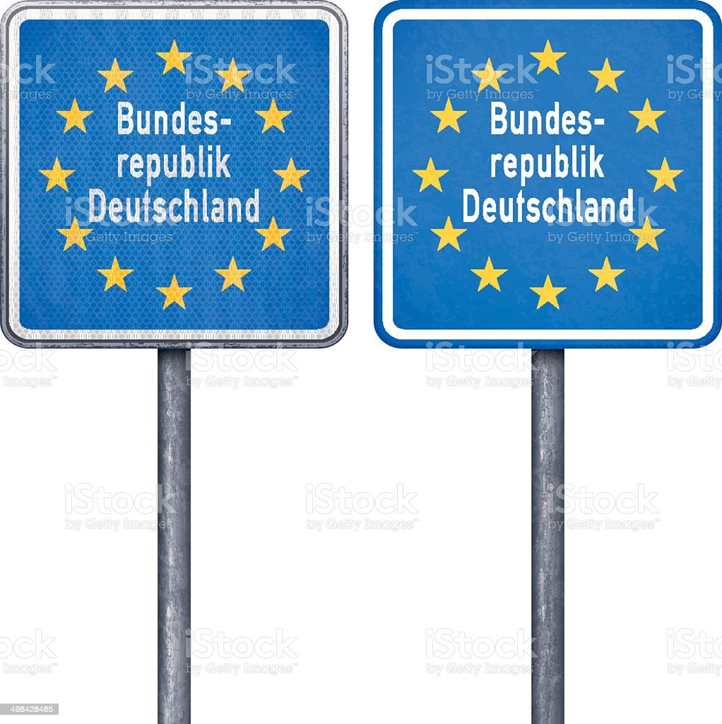 German border road sign with European flag royalty-free stock vector art