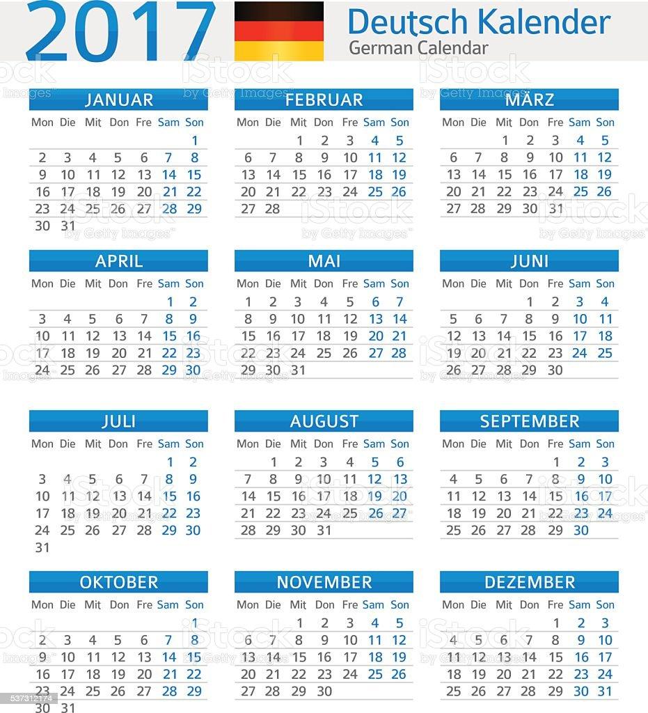 german calendar 2017 deutsch kalender 2017 stock vector. Black Bedroom Furniture Sets. Home Design Ideas