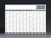Calendar 2020 - German version (Deutsch Version). Need another version, another year... Check my portfolio. Vector Illustration (EPS10, well layered and grouped). Easy to edit, manipulate, resize or colorize.