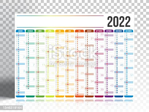istock German Calendar 2022 with blank backgorund 1346319164