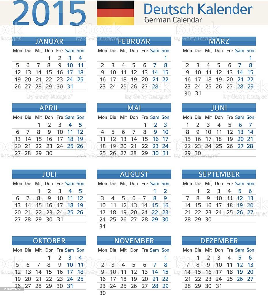 german calendar deutsch kalender 2015 illustration stock vector art 510688751 istock. Black Bedroom Furniture Sets. Home Design Ideas