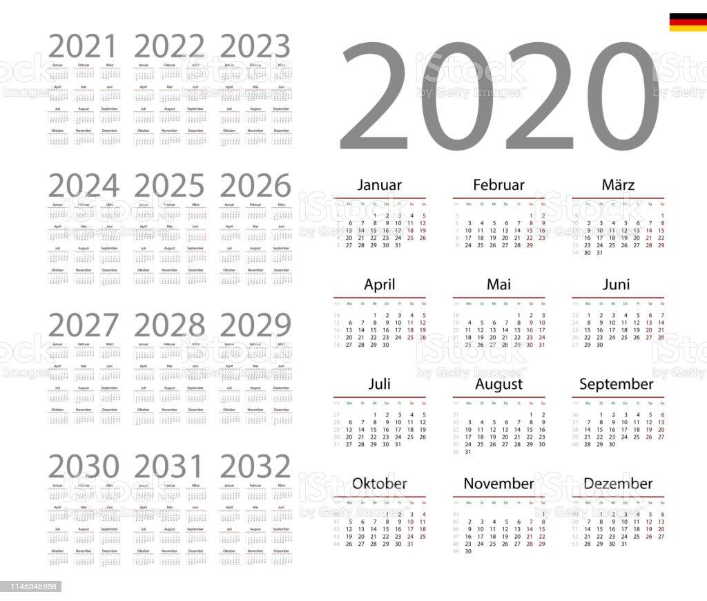 Calendrier Allemand 2020.Calendrier Allemand Pour 2020 La Semaine Debute Le Lundi
