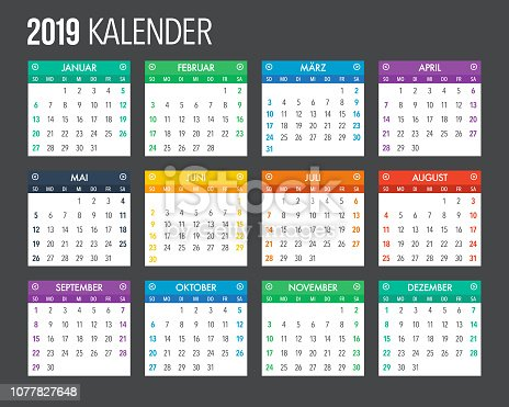 A full 2019 calendar design template. File is built in the CMYK color space for optimal printing.