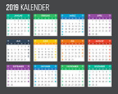 2019 German Calendar Template Design
