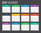 2020 German Calendar Template Design