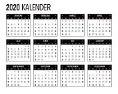 2020 German Calendar Template Design