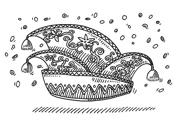 German Carnival Hat Confetti Drawing Hand-drawn vector drawing of a German Carnival Hat and Confetti flying around. Black-and-White sketch on a transparent background (.eps-file). Included files are EPS (v10) and Hi-Res JPG. celebration stock illustrations
