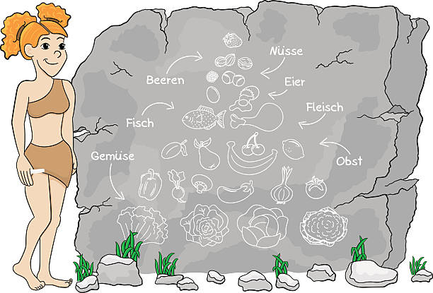 german cave woman explains paleo diet using a food pyramid - paleo diet stock illustrations, clip art, cartoons, & icons