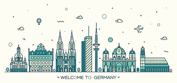 bildbanksillustrationer, clip art samt tecknat material och ikoner med german cities vector illustration linear style - berlin city