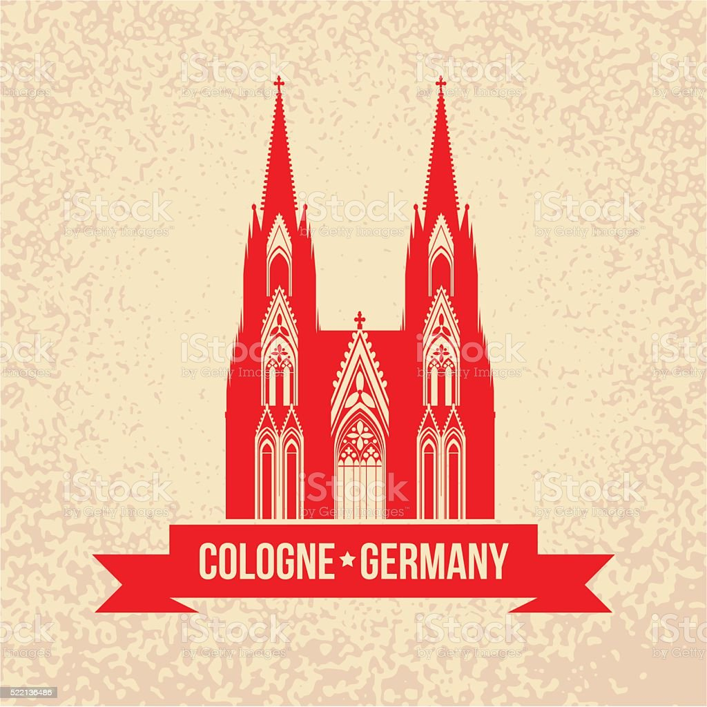 German city Cologne travel symbol. vector art illustration