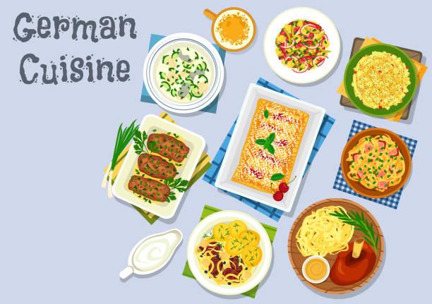 deutsche küche-abendessen mit bier und nachtisch-symbol - sauerkraut stock-grafiken, -clipart, -cartoons und -symbole