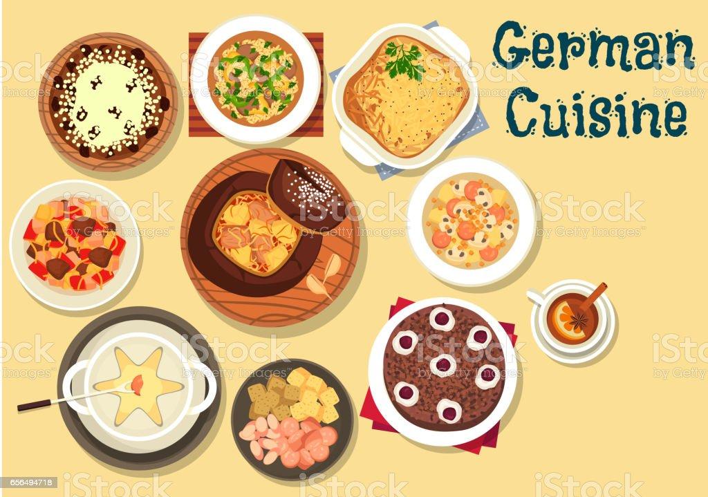 German cuisine festive christmas dinner icon vector art illustration