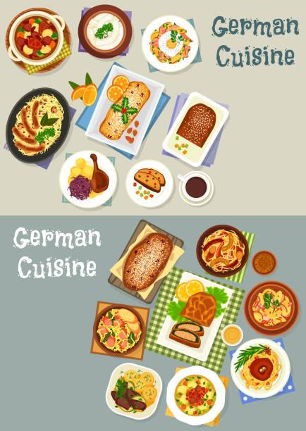 deutsche küche festliches dinner icon set-design - sauerkraut stock-grafiken, -clipart, -cartoons und -symbole