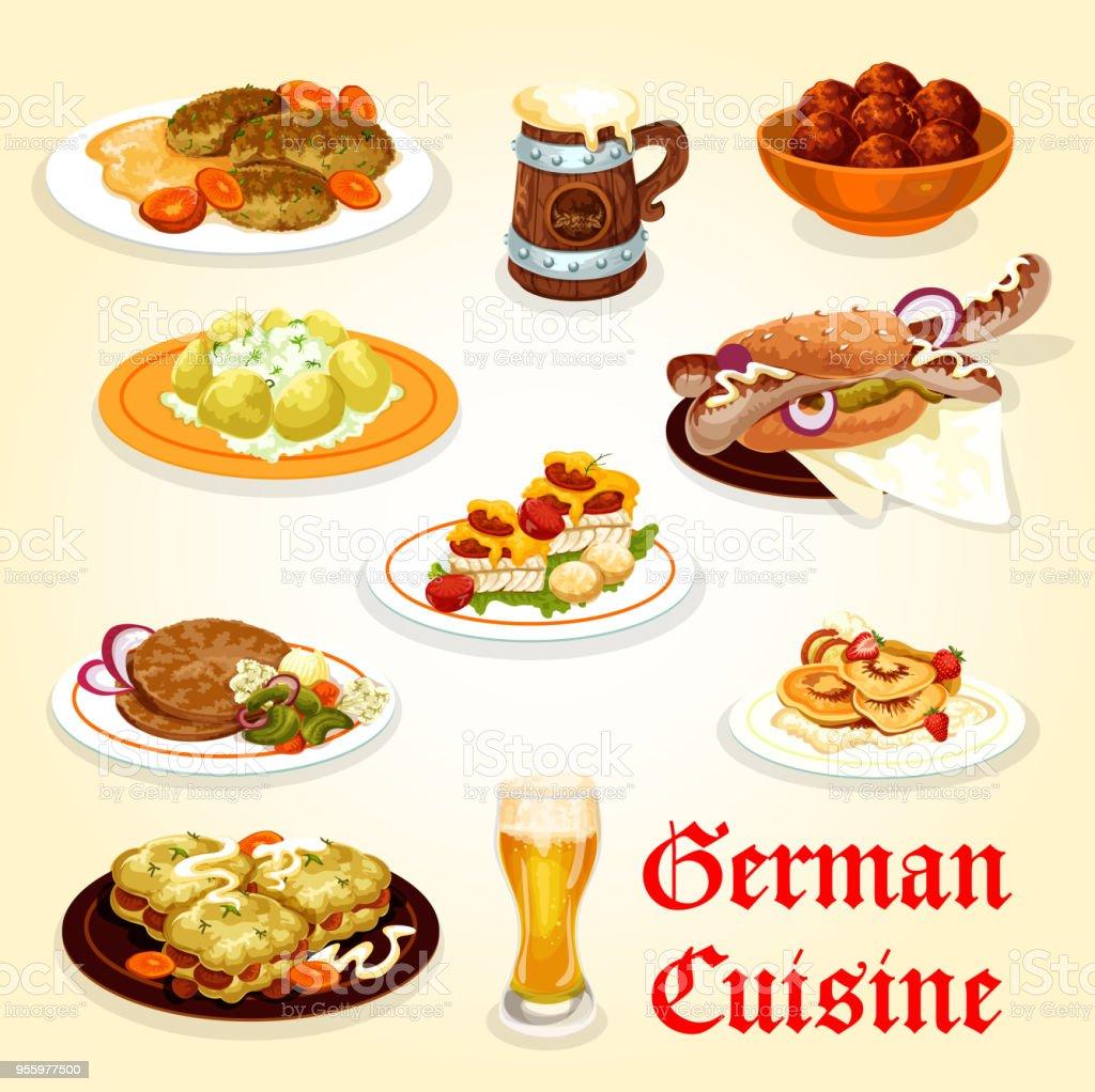 Deutsche Küchesymbol Für Oktoberfestmenüdesign Stock Vektor Art und ...