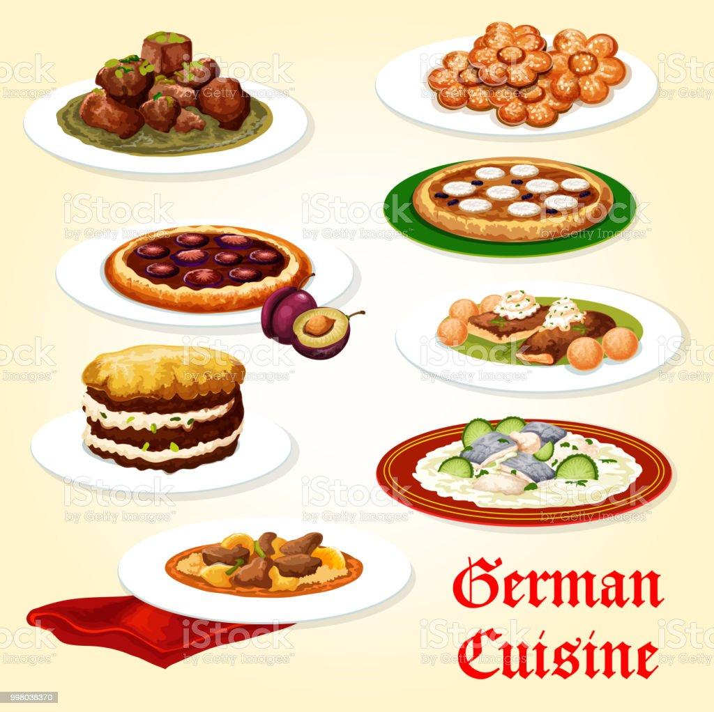 Icone De La Cuisine Allemande De Plat Avec Dessert Vecteurs Libres
