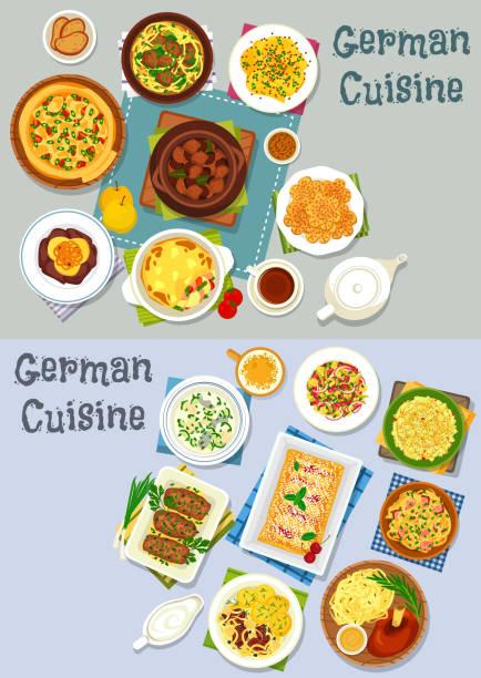 deutsche küche mittagessen symbolsatz mit fleischgerichte - sauerkraut stock-grafiken, -clipart, -cartoons und -symbole