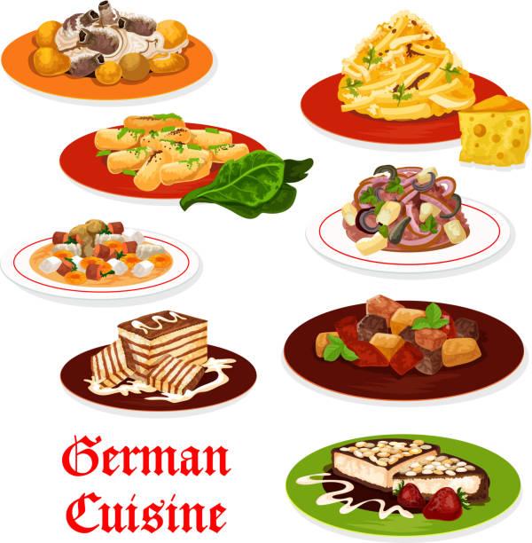 deutsche küche-fleischgerichte und desserts - sauerkraut stock-grafiken, -clipart, -cartoons und -symbole
