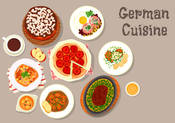german cuisine meat dishes with desserts icon - pflaumenkuchen stock-grafiken, -clipart, -cartoons und -symbole