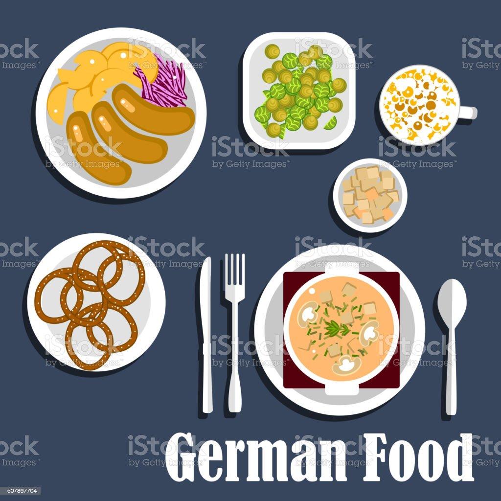 Niemiecki Kuchni Zupy Sałatki I Przekąski Stockowe Grafiki