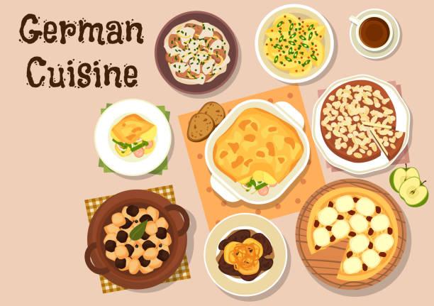 deutsche küche traditionelle abendessen symbol - sauerkraut stock-grafiken, -clipart, -cartoons und -symbole