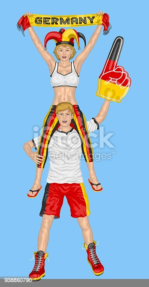 istock German Fans Supporting Germany Team with Scarf and Foam Finger 938860790