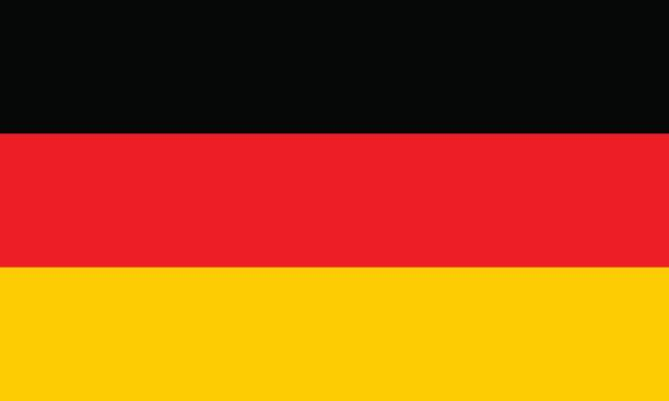German flag, flat layout, vector illustration Flag design. German flag on the white background, isolated flat layout for your designs. Vector illustration. germany stock illustrations