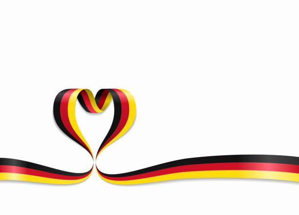 ilustraciones, imágenes clip art, dibujos animados e iconos de stock de cinta en forma de corazón de la bandera alemana. ilustración de vector. - bandera alemana