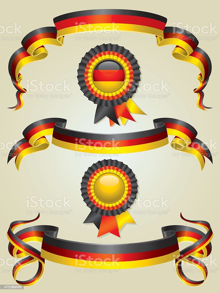 German Flag Ribbons And Rosettes Set royalty-free stock vector art