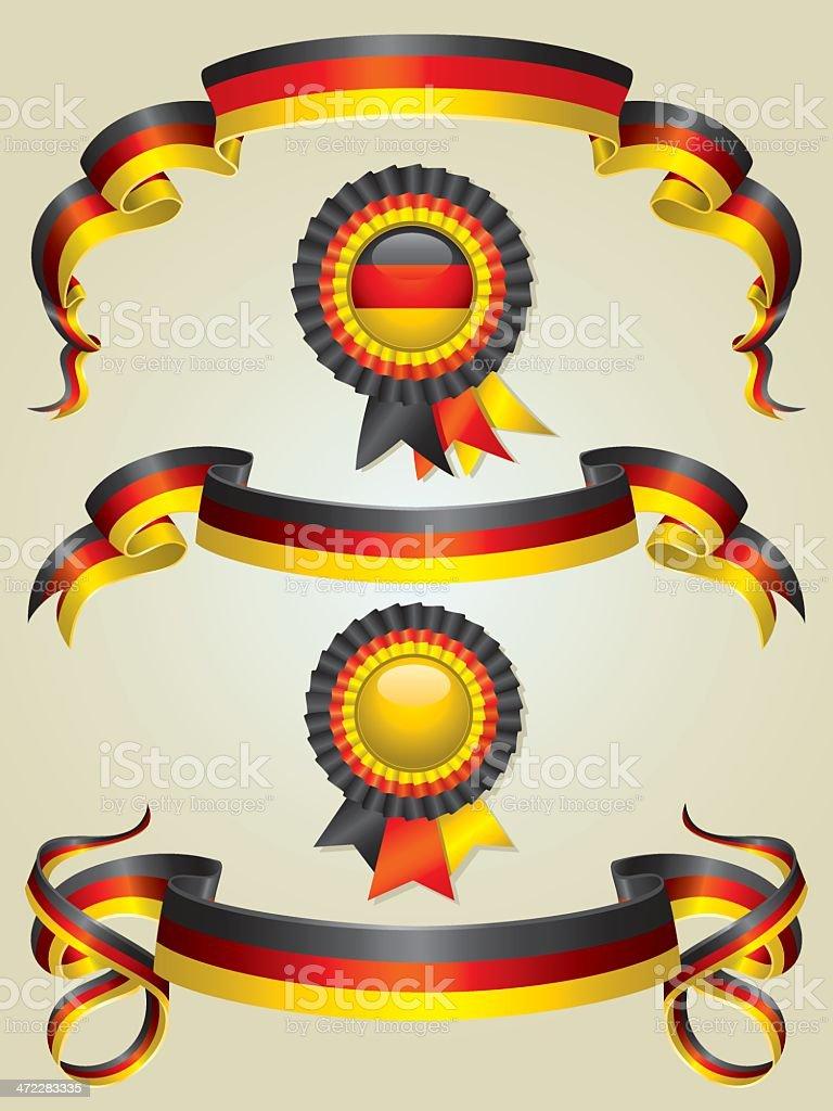 German Flag Ribbons And Rosettes Set royalty-free german flag ribbons and rosettes set stock vector art & more images of award