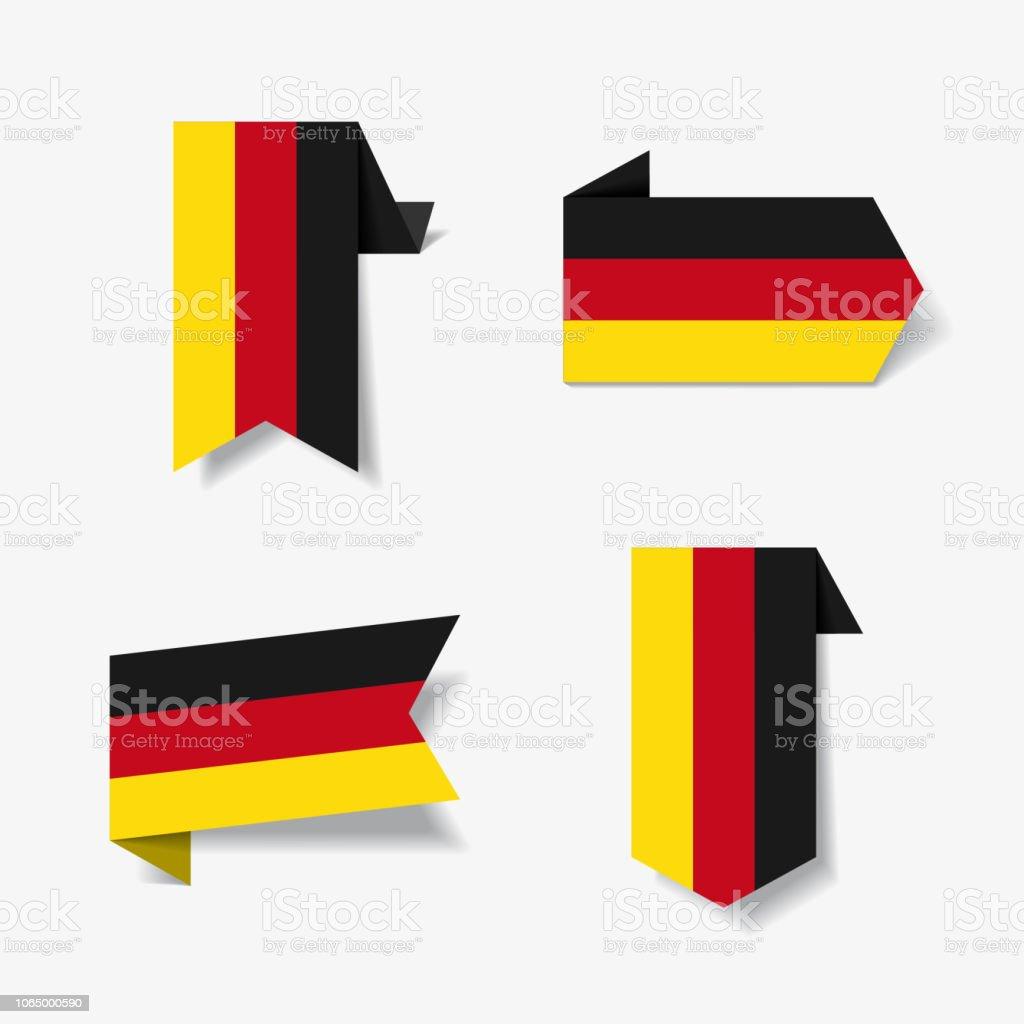 Etiquetas y pegatinas de la bandera alemana. Ilustración de vector. - ilustración de arte vectorial