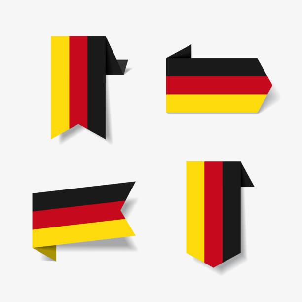 ilustraciones, imágenes clip art, dibujos animados e iconos de stock de etiquetas y pegatinas de la bandera alemana. ilustración de vector. - bandera alemana