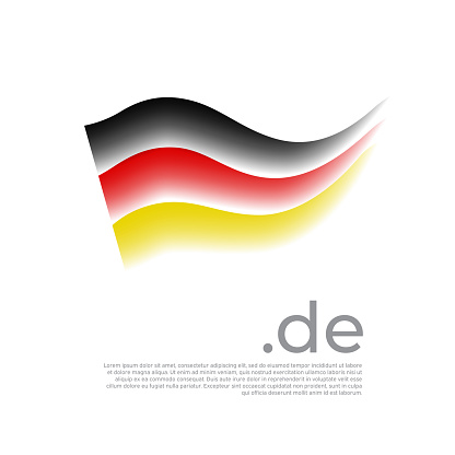 German flag. Stripes in colors of flag of germany on a white background. Vector stylized national poster design with de domain and place for text. Tricolor. State german patriotic banner, cover