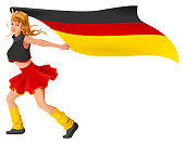 German girl cheerleader fan hold flag. Soccer championship