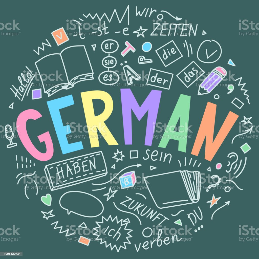 German Hand Drawn Doodles And Lettering Stock Illustration ...